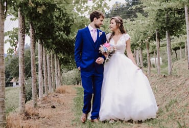 Romantic outdoor wedding in a winery